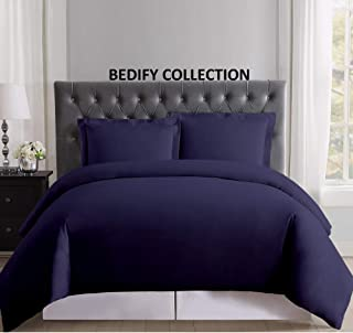 Bedify 100% Organic Cotton 500 Thread Count Hypoallergenic Hotel Design Soft & Decorative 88x88 Inch Full/Full XL/Queen Size Navy Blue Solid Duvet Cover Zipper Closed