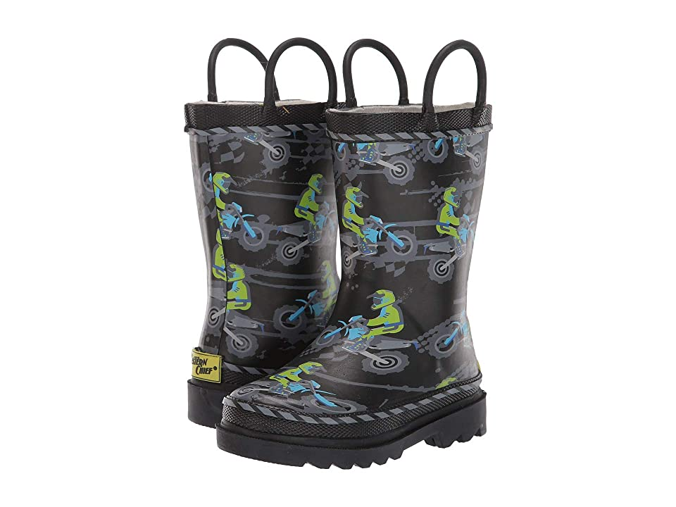 Western Chief Kids Limited Edition Printed Rain Boots (Toddler/Little Kid) (Motocross Black) Boys Shoes