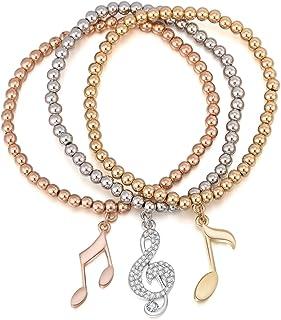 Braccialetto di fascino delle donne, braccialetto di allungamento Braccialetto Note di musica Braccialetto del polsino del...
