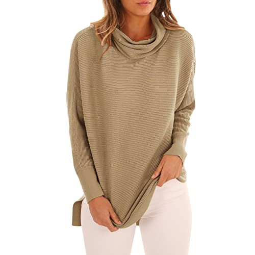 Womens Cowl Neck Sweaters Casual Long Sleeve High Low Knit Jumper Tops  Pullover 06adaf79dc27