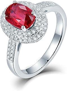 ButiRest - Anello da donna, in oro bianco 750 18 carati 750 con quattro artigli, taglio ovale 1,2 ct rosso rubino VS e dia...