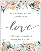 Andaz Press Unframed Christian Bible Verses 8.5x11-inch Floral Roses Poster, Be Devoted to one Another in Love. Honor one Another Above Yourselves. Romans 12:9-10, 1-Pack, Christmas Gift for Her
