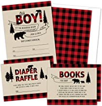 Set of 25 Lumberjack Baby Shower Invitations, Diaper Raffle Tickets, Book Request Cards with Envelopes | Boy Baby Shower I...