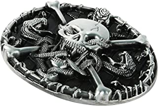 Lovoski Skeleton Belt Buckle, Adult Mens Skull And Crossbones With Western Belt Buckles