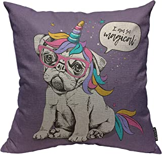 Mugod Dog Decoration Throw Pillow Cushion Covers Puppy Bulldog in a Bright Colored Costume of a Unicorn I am So Magical Lettering Decorator Funny Pillows Home Decor Couch Pillow Case 18 X 18 Inch