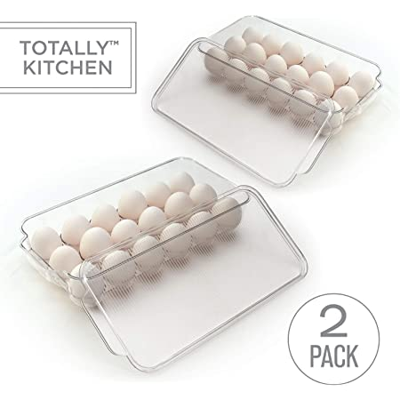 Totally Kitchen Plastic Egg Holder, BPA Free Fridge Organizer with Lid & Handles, Refrigerator Storage Container, 18 Egg Tray, Clear (2 Pack)