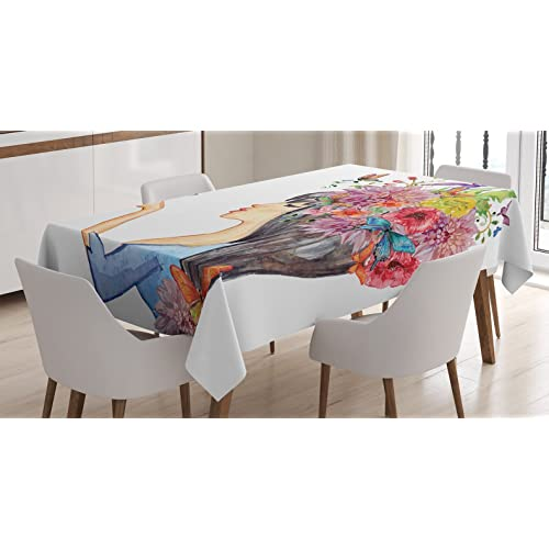cacf206c82 Ambesonne Watercolor Flower Decor Tablecloth, Floral Head Cute Girl Holding  Butterfly Romantic Feminine Spring Symbole