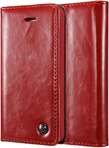 ZORSOME Case for iPhone 5/5S/5SE,Premium PU Leather Folio Flip Cover with Kickstand,Retro Wallet Foldable Card Holder Protective Cover (Color : Red)