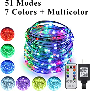 ErChen 51 Modes 7 Colors + Multicolor LED String Lights, 49FT 150 RGB LEDs Plug in Color Changing Silver Copper Wire Fairy Lights with Remote Timer UL Adapter for Christmas Party Bedroom