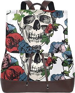 Ahomy Damen Fashion PU Leder Rucksack Schädel in Blumen Rose Anti-Diebstahl Rucksack Schultertasche