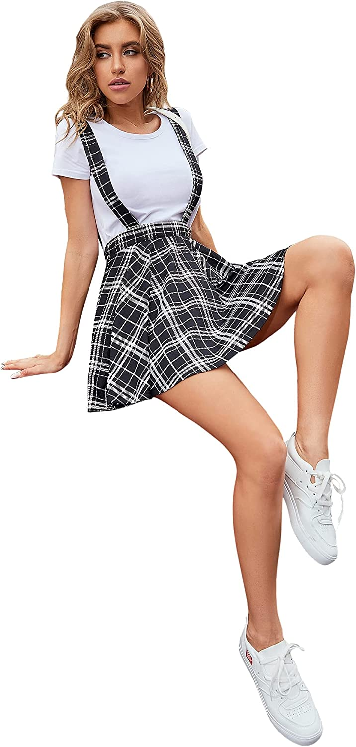 90s Clothing Outfits You Can Buy Now SheIn Womens Basic High Waist Flared Suspender Skirt Overall Dress Without Tee  AT vintagedancer.com