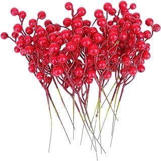 Healifty 16pcs noël pioche Baies Rouges tiges Floral pioche Baies pioche pour Arrangements de Fleurs de noël couronnes Tab...