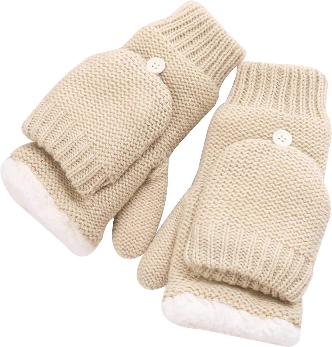 FOLDING Gloves Ladies Winter Comfortable Fleece Lining Convertible Fingerless Knit Gloves Gloves (Color : Khaki)