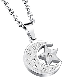 Men's Stainless Steel Islamic Charm Crescent Moon and Star Pendant Necklace Chain 20 inch