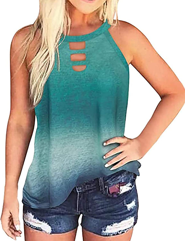 LilyCoco Women Sleeveless Tank Top Leopard Print Tie Dye Halter Neck Vest Cami Tee Shirt Tie Dye Blue L