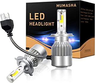 LED Headlight Bulbs Headlight bulb H4 9003 Hi/Low All-in-One Conversion Kit Led headlights H7 H8 H9 H11 9005 9006 with COB Chips 8000 Lm 6500K Cool White Beam Bulbs IP68 Waterproof,