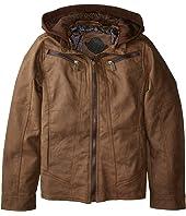 Victor PU Suede Biker Jacket w/ Fleece Hoodie (Little Kids/Big Kids)