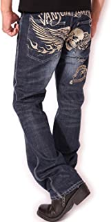 (バンソン) VANSON ジーンズ フライングファイヤースカル 総刺繍 ダメージ加工 デニムパンツ SP-B-14
