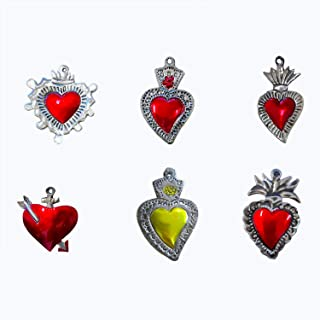 Milagros Charms - Tin Painted Sacred Heart Ornaments - Mexican Art (Set of 6)