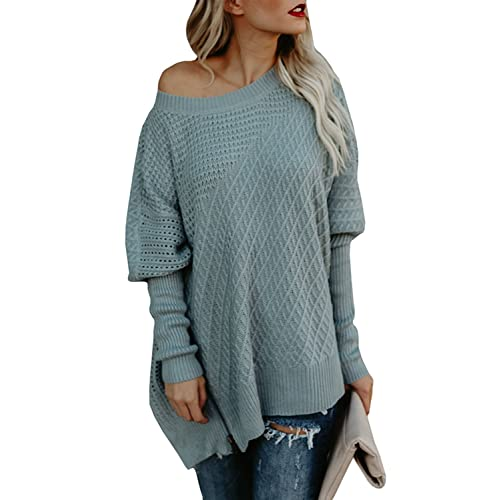2dc0040682f952 Ofenbuy Womens Oversized Sweaters Batwing Sleeve Round Neck Patchwork Cable  Knit Pullover