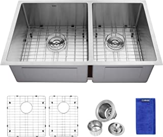 Enbol ESD3319LL, 33 Inch Undermount 60/40 Double Bowl Premium Stainless Steel Kitchen Sink with Protective Bottom Grid and Strainer, 10 Inch Extra Deep, Round Corner for More Easy Clean