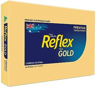 Reflex Australian Made Coloured Paper Reflex Gold Coloured Office Copy Paper, A4, 80g, 500 Sheets, Gold, (134465)