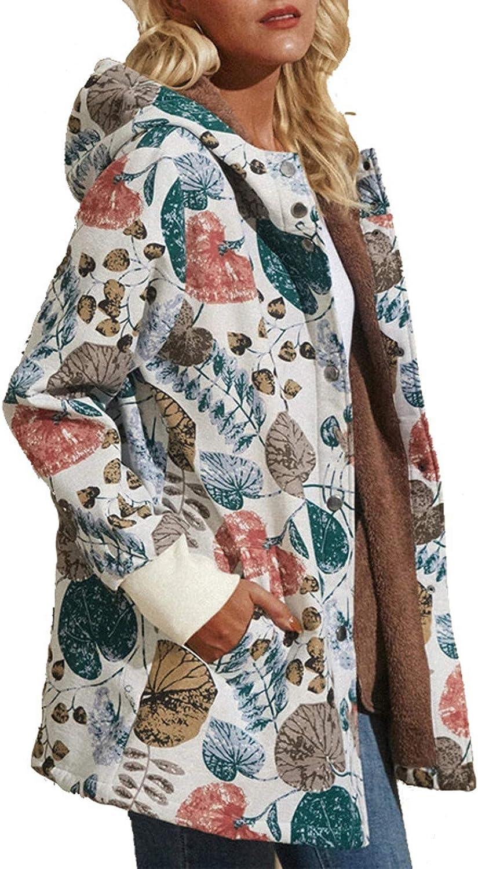 YSLMNOR Flowers Coat Elegant Womens Atlanta Mall Fleece Hooded Plus Jacket Vintage Si