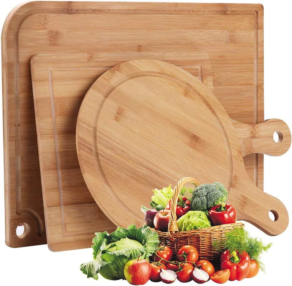 Ivoku Organic Bamboo San Francisco Mall Cutting Board Juice 3-Piece Set with Groove Quantity limited