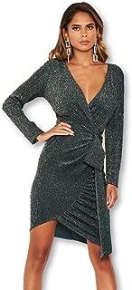 AX Paris Women's Sparkle Ruched Bodycon Wrap Dress