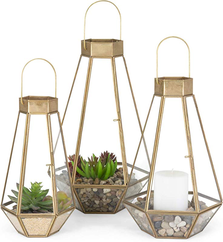 Best Choice Products Metal Indoor Outdoor Modern Decorative Faceted Hurricane Candle Holder Centerpiece Lanterns For Parties Events Weddings With Clear Glass Mirrored Base Set Of 3 Brass