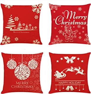 Christmas Throw Pillow Cover Set of 4 Xmas Holiday Decor Pillowcase Cushion Cover Square Decorative Pillow Cover for Sofa Couch Bed and Car, 18