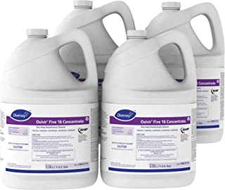 Diversey Oxivir Five 16 Concentrate One-Step Premium Disinfectant Cleaner, 1 Gallon Bottle, 4 Bottle Value Pack