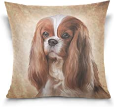 Mydaily Cavalier King Charles Spaniel Dog Square Throw Pillow Case Cotton Velvet Cushion Cover 18x18 inch