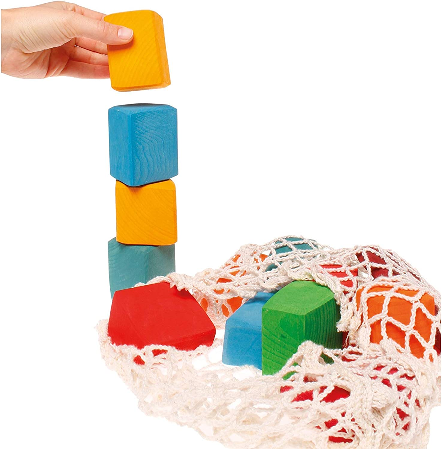Grimm's Large Waldorf Building Blocks, Set of 15 Organically-Shaped Wooden Blocks (colord)