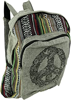 Striped Boho Peace Sign Cotton Backpack
