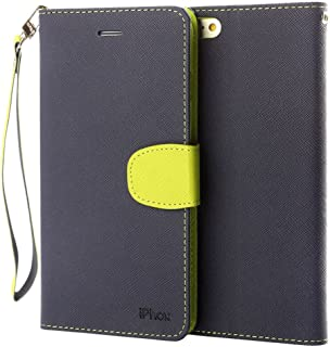iPhone 6S Plus Leather Case, IPHOX Premium Folio Leather Wallet Case with [Kickstand] [Card Slots] [Magnetic Closure] [Hand Strap] Flip Notebook Cover Case for iPhone 6/6S Plus (Blue)
