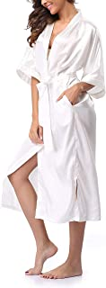 Womens Pure Color Long Satin Bathrobe Kimono Nightgown Long Dress Gown