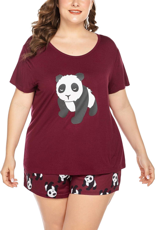 IN'VOLAND Women's Plus Size Shorts Pajamas Set Print Pjs Set Short Sleeve Sleepwear Tops and Point Shorts Nightwear