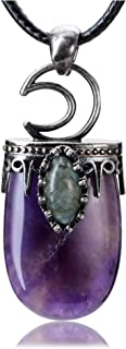 Jovivi شفاء كريستال قلادة نصف بيضاوية شاكرا الأحجار الكريمة القمر لابرادوريت قلادة حبل قابل للتعديل
