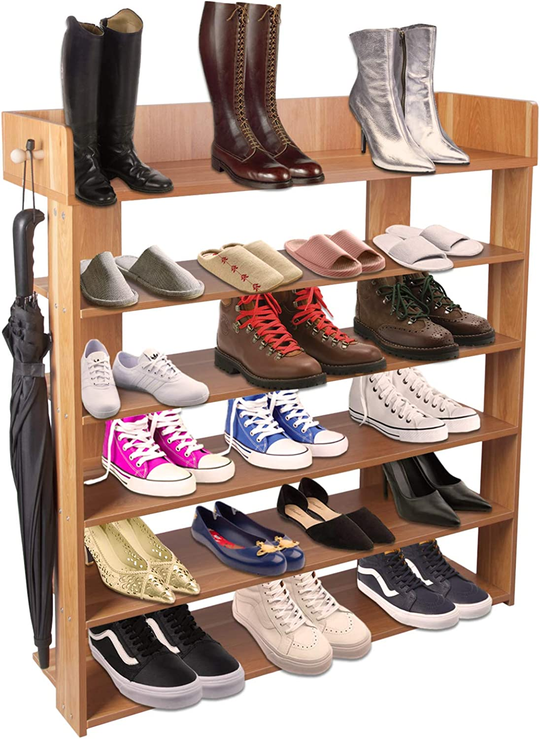 5-Tier shoes Rack Organizer, Entryway shoes Cabinet Storage Rack with Side Hook(Black)