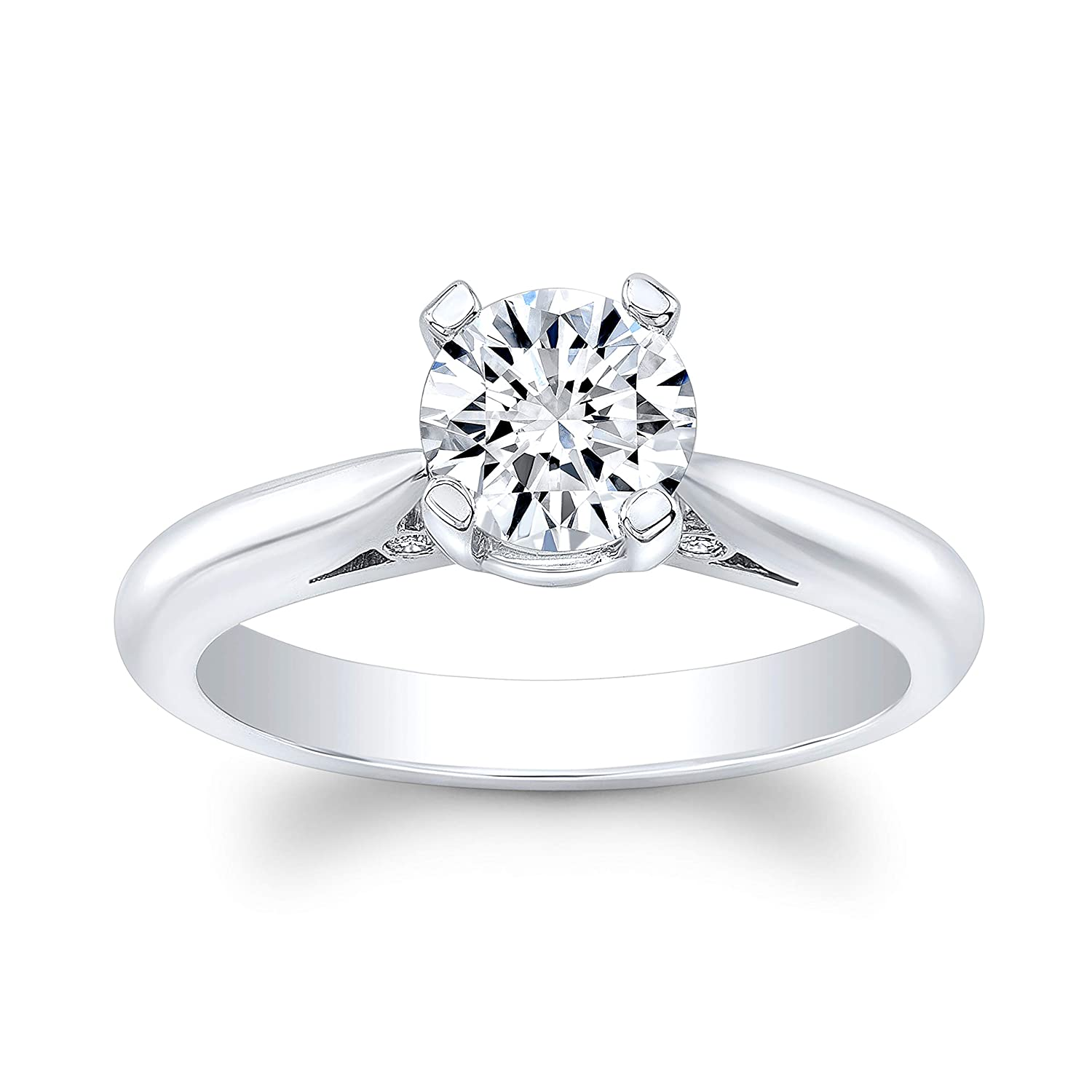 Women's 14k white gold engagement safety Brilliant Round Time sale ring 2.00 whit