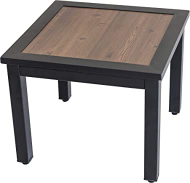 LOKATSE HOME Outdoor Metal Square Side/End Table with Wood Top for Patio, Porch, Deck, Brown