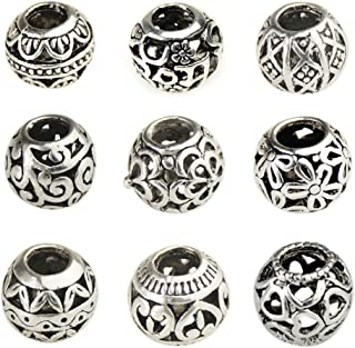 Bingcute 20Pcs Silver Tone Spacer Loose Beads Hollow filigree Tibetan beads for jewelry making