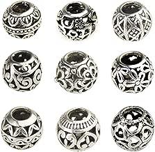 Bingcute 20Pcs Silver Tone Spacer Loose Beads Hollow filigree Tibetan beads for jewelry making