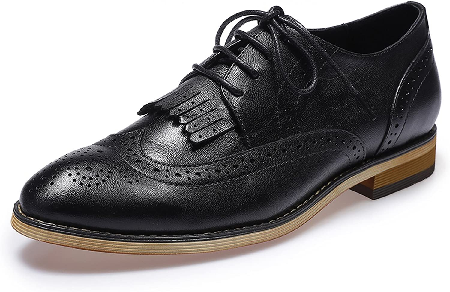 Mona Flying Women Oxford shoes Leather Tassel Perforated Lace up Wingtip Saddle Flat Brogue shoes