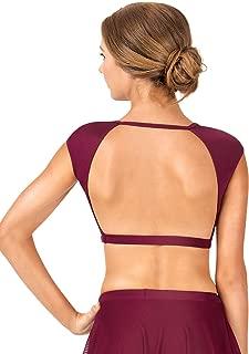Adult Cap Sleeve Open Back Dance Crop Top NL9021