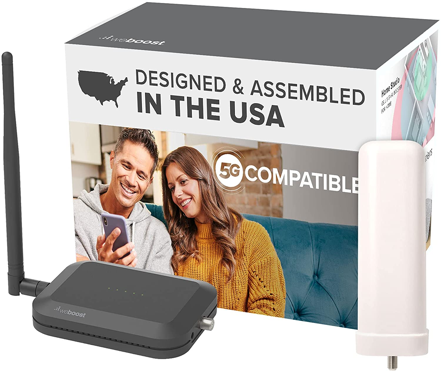 weBoost Home Studio Omni - Cell Phone Signal Booster | Boosts 4G LTE & 5G for all U.S. & Canadian Networks - Verizon, AT&T, T-Mobile & more | Made in the U.S. | FCC Approved (model 471166)
