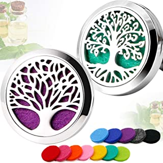 RoyAroma 2PCS Tree of Life Aromatherapy Car Essential Oil Diffuser Stainless Steel Locket with 12 Felt Pads