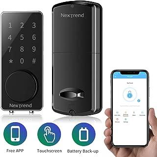[New Arrive]Smart Bluetooth Lock, NexTrend Smart Deadbolt Door Lock Keyless, Touchscreen Keypad, Auto Lock, Send Ekeys, Free APP Monitoring, Easy to Install for Home, Hotel, Apartment, Black