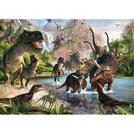 Dinosaur 12x10 FT Vinyl Photography Backdrop,Aggressive Prehistoric Cartoon Animal Roaring Open Mouth Wildlife Image Background for Baby Birthday Party Wedding Studio Props Photography